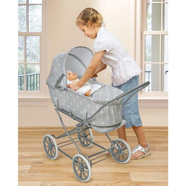 Badger Basket Gray/Polka Dots Just Like Mommy 3-in-1 Doll Pram/Carrier/Stroller