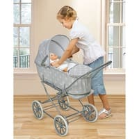 Badger Basket Gray/Polka Dots Just Like Mommy 3-in-1 Doll Pram/Carrier/Stroller