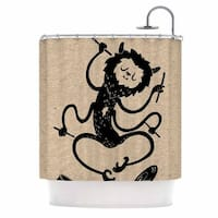 KESS InHouse Anya Volk Music Monster Brown Fantasy Shower Curtain (69x70)