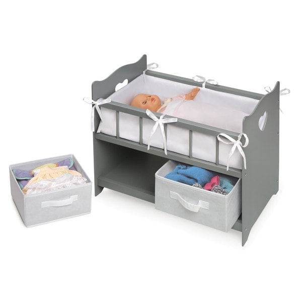 Badger Basket Executive Gray Doll Crib with Two Baskets