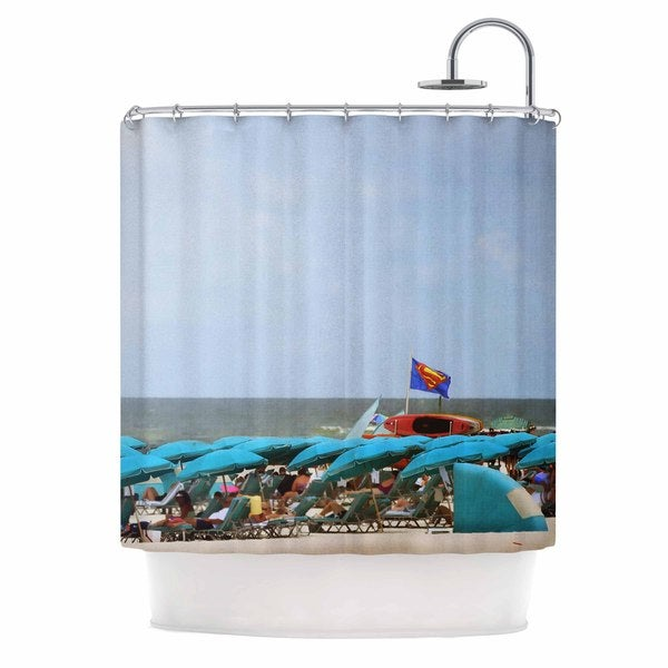 KESS InHouse Angie Turner Superman At The Beach  Blue Red Shower Curtain (69x70)