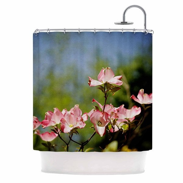 KESS InHouse Angie Turner Pink Dogwood - Digital Floral Shower Curtain (69x70)