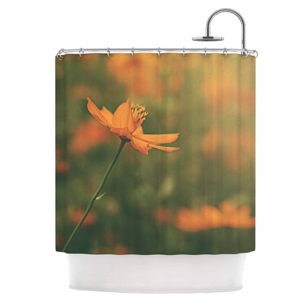 KESS InHouse Angie Turner Orange Cosmo - Digital Floral Shower Curtain (69x70)