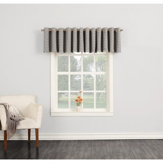 Sun Zero Ramsey Woven Jacquard Energy Efficient Blackout Grommet Curtain Valance