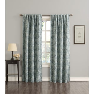Sun Zero Mayfield Woven Floral Energy Efficient Blackout Back-Tab Curtain Panel
