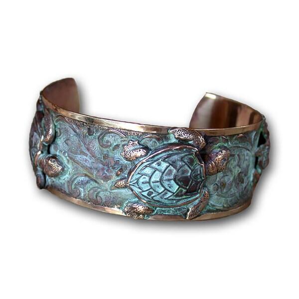 Handmade Patina Sea Turtle Cuff Bracelet by Elaine Coyne