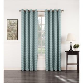 Sun Zero Ramsey Woven Jacquard Energy Efficient Blackout Grommet Curtain Panel