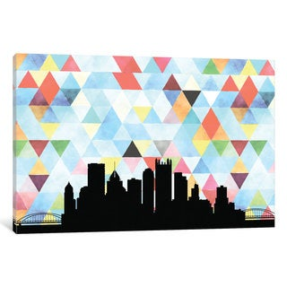 iCanvas 'Geometric Skyline Series: Pittsburgh' by PaperFinch Design Canvas Print