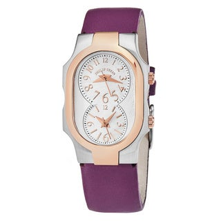 Philip Stein Women's 1TRG-FMOP-CIPR 'Signature' Mother of Pearl Dial Purple Leather Strap Swiss Quartz Watch