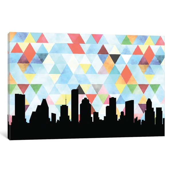 iCanvas Geometric Skyline Series: Houston by PaperFinch Design Canvas Print