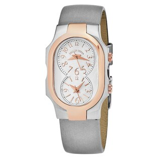 Philp Stein Women's 'Signature' Mother of Pearl Dial Silk Strap Dual Time Swiss Quartz Watch
