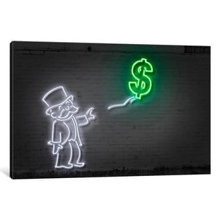 iCanvas 'Neon Luminosity Series: Rich Uncle Pennybags (aka Mr. Monopoly) With A Balloon' by Octavian Mielu Canvas Print