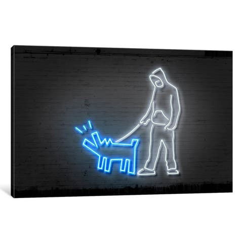 iCanvas 'Neon Luminosity Series: Haring Dog' by Octavian Mielu Canvas Print
