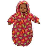 The Queen's Treasures 15-inch Baby Doll Soft Plush Bitty Bunting Pink Snow Suit