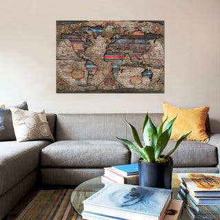 iCanvas 'Distressed World Map' by Diego Tirigall Canvas Print