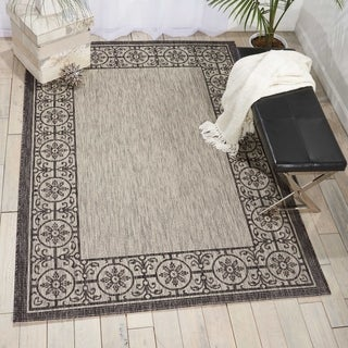 Nourison Garden Party Ivory/Charcoal Indoor/Outdoor Area Rug (5'3X7'5)