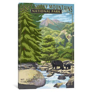 iCanvas 'U.S. National Park Service Series: Great Smoky Mountains National Park (Mount Le Conte)' by Lantern Press Canvas Print