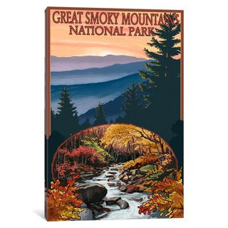 iCanvas 'U.S. National Park Service Series: Great Smoky Mountains National Park (Flowing Stream)' by Lantern Press Canvas Print