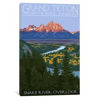 iCanvas U.S. National Park Service Series: Grand Teton National Park (Snake River Overlook) by Lantern Press Canvas Print