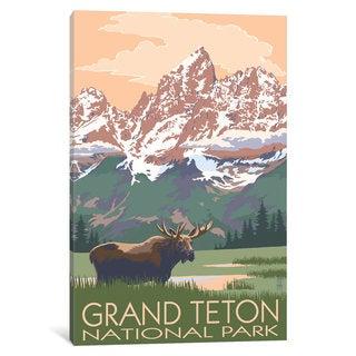 iCanvas 'U.S. National Park Service Series: Grand Teton National Park (Moose And Teton Range)' by Lantern Press Canvas Print
