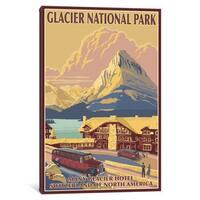 iCanvas U.S. National Park Service Series: Glacier National Park (Many Glacier Hotel) by Lantern Press Canvas Print