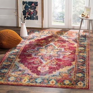 Safavieh Crystal Red/ Navy Area Rug (4' x 6')