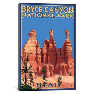 iCanvas 'U.S. National Park Service Series: Bryce Canyon National Park (Three Hoodoos In Summer)' by Lantern Press Canvas Print