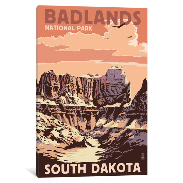 iCanvas U.S. National Park Service Series: Badlands National Park (Castle Rock) by Lantern Press Canvas Print