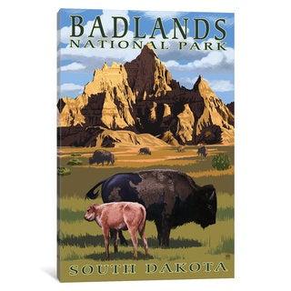 iCanvas 'U.S. National Park Service Series: Badlands National Park (Bison And Calf)' by Lantern Press Canvas Print
