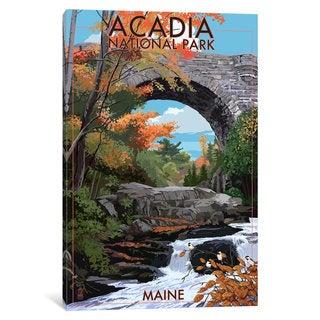 iCanvas U.S. National Park Service Series: Acadia National Park (Stone Bridge) by Lantern Press Canvas Print