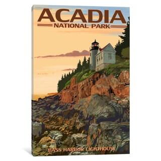 iCanvas 'U.S. National Park Service Series: Acadia National Park (Bass Harbor Head Lighthouse)' by Lantern Press Canvas Print