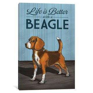 iCanvas 'Life Is Better With A Beagle' by Lantern Press Canvas Print