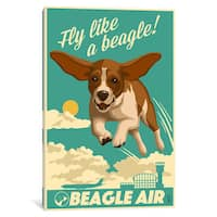 iCanvas 'Beagle Air' by Lantern Press Canvas Print