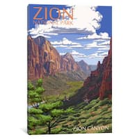 iCanvas 'U.S. National Park Service Series: Zion National Park (Zion Canyon)' by Lantern Press Canvas Print