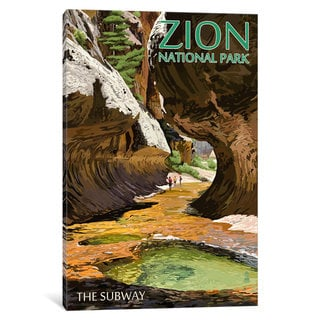iCanvas U.S. National Park Service Series: Zion National Park (The Subway) by Lantern Press Canvas Print