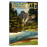iCanvas U.S. National Park Service Series: Yosemite National Park (Merced River) by Lantern Press Canvas Print