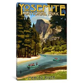 iCanvas U.S. National Park Service Series: Yosemite National Park (Merced River) by Lantern Press Canvas Print