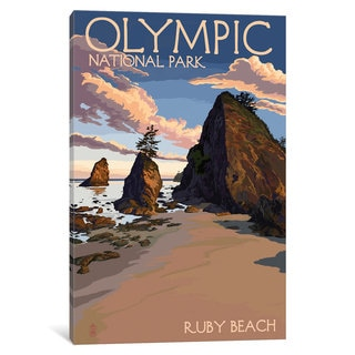 iCanvas U.S. National Park Service Series: Olympic National Park (Ruby Beach) by Lantern Press Canvas Print