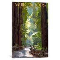 iCanvas 'U.S. National Park Service Series: Muir Woods National Monument (Old-Growth Redwoods)' by Lantern Press Canvas Print