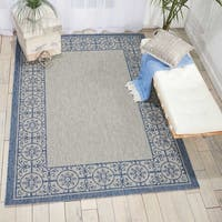 Nourison Garden Party Ivory Blue Indoor/Outdoor Area Rug (5'3X7'5)