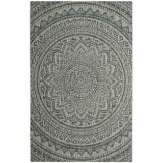 Safavieh Courtyard Moroccan Indoor/Outdoor Grey/ Teal Area Rug (2' 7 x 5')