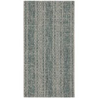 Safavieh Courtyard Moroccan Indoor/Outdoor Grey/ Teal Area Rug (2' 7 x 5')