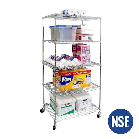 Seville Classics 36 in W x 24 in D x 72 in H, UltraDurable Commercial-Grade 5-Tier NSF-Certified Wire Shelving with Wheels