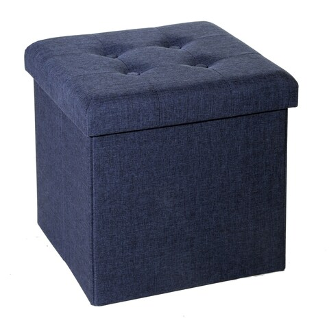 Seville Classics Foldable Tufted Storage Cube Ottoman, Midnight Blue