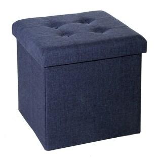 Seville Classics Foldable Tufted Storage Cube Ottoman, Midnight Blue