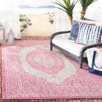 Safavieh Courtyard Moroccan Indoor/Outdoor Grey/ Pink Area Rug (4' x 5' 7)