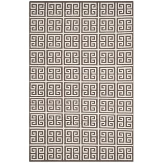 Safavieh Dhurries Hand-Woven Brown/ Ivory Silk Area Rug (4' x 6')
