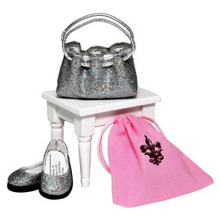 The Queen's Treasures American Designer Silver Handbag & Shoes With Shoe Box! For 18-inch Dolls