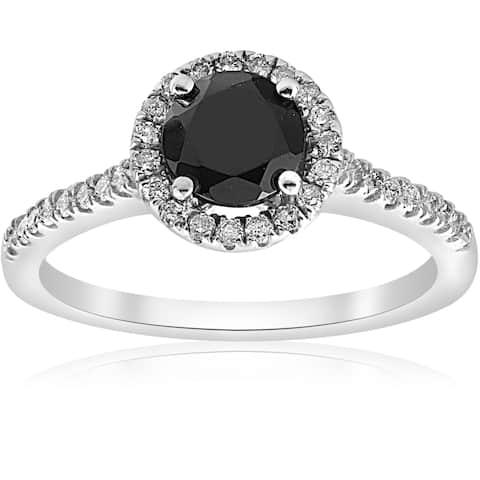 14k White Gold 1 3/8 ct TDW Diamond & Black Spinel Halo Pave Engagement Ring (I-J,I2-I3)