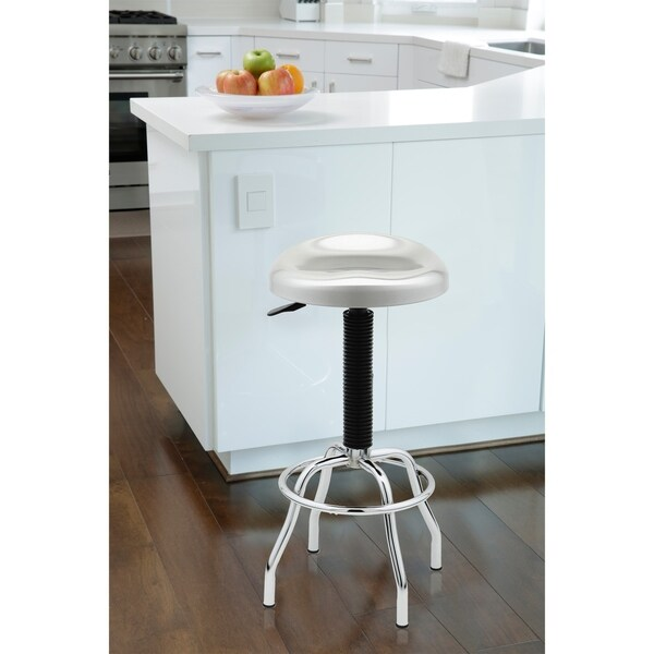Seville Classics Contoured Pneumatic Stainless Steel Work Stool
